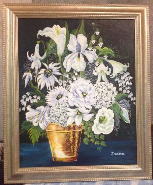 White and Gold (acrylic) by Donna Orr