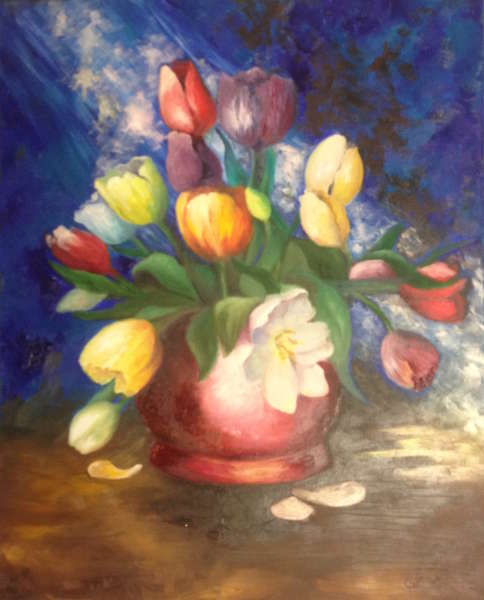 Tulip Beauty (oils on canvas) by Pam Duncan