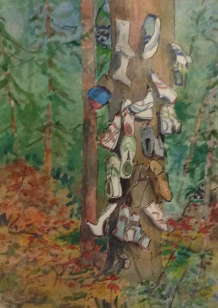 Shoe Tree (watercolour) by Rolf Stecher