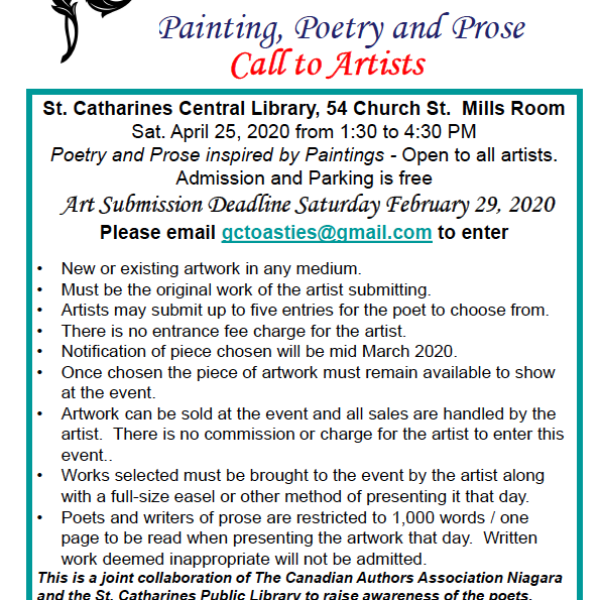 Call for Art:  3rd Annual Paintings, Poetry and Prose